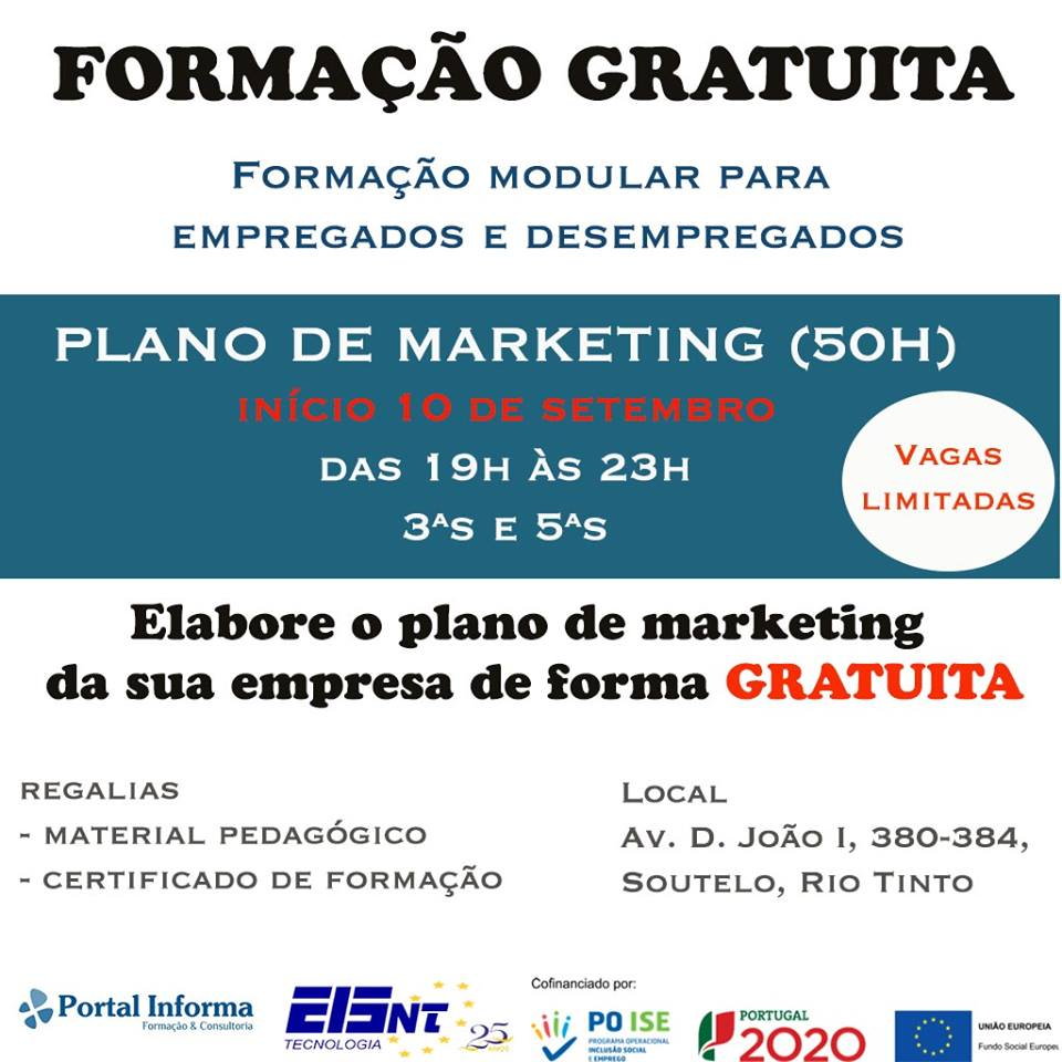 Curso gratuito – Plano de Marketing – Rio Tinto