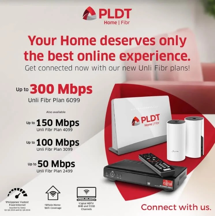 PLDT Home Fibr Plus Plans with Mesh WiFi and Cignal HDTV; Starts at Php2,499
