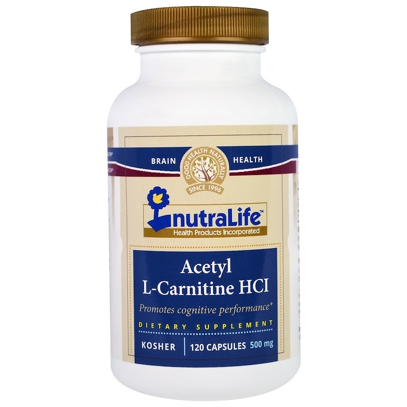 NutraLife, Ацетил-L-карнитина гидрохлорид, 500 мг, 120 капсул
