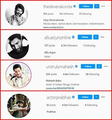 Vijay Deverakonda, Allu Arjun, Mahesh Babu and Prabhas Instagram followers