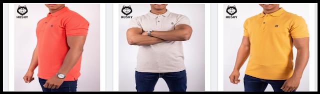 4 تيشرت ماركة هوسكى بولو سادة (Plain Husky Polo T-Shirt)