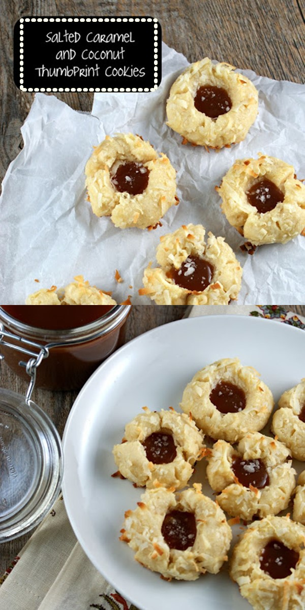 Salted Caramel and Coconut Thumbprint Cookies #cookiesrecipes
