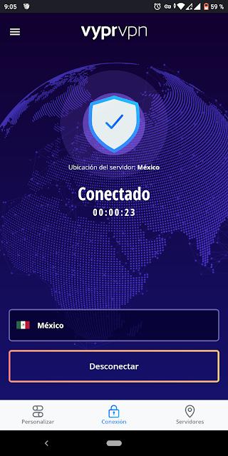 VYPR VPN CONECTADO A MEXICO