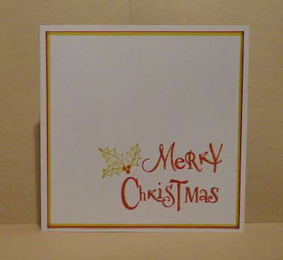 CAS Christmas card, Merry Christmas with holly, in lime and red