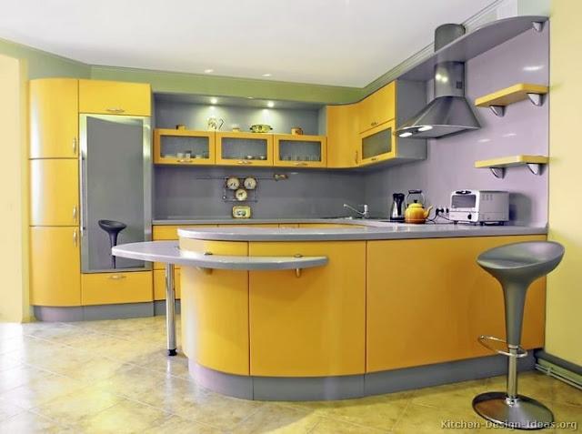 مطبخ اصفر الوميتال عصري و مميز موديل 2020