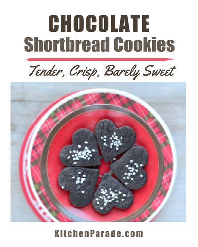 Chocolate Shortbread Cookies, a love letter to nurses ♥ KitchenParade.com, tender, crisp and barely sweet.