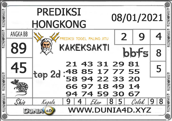 Prediksi Togel HONGKONG DUNIA4D 08 JANUARI 2021