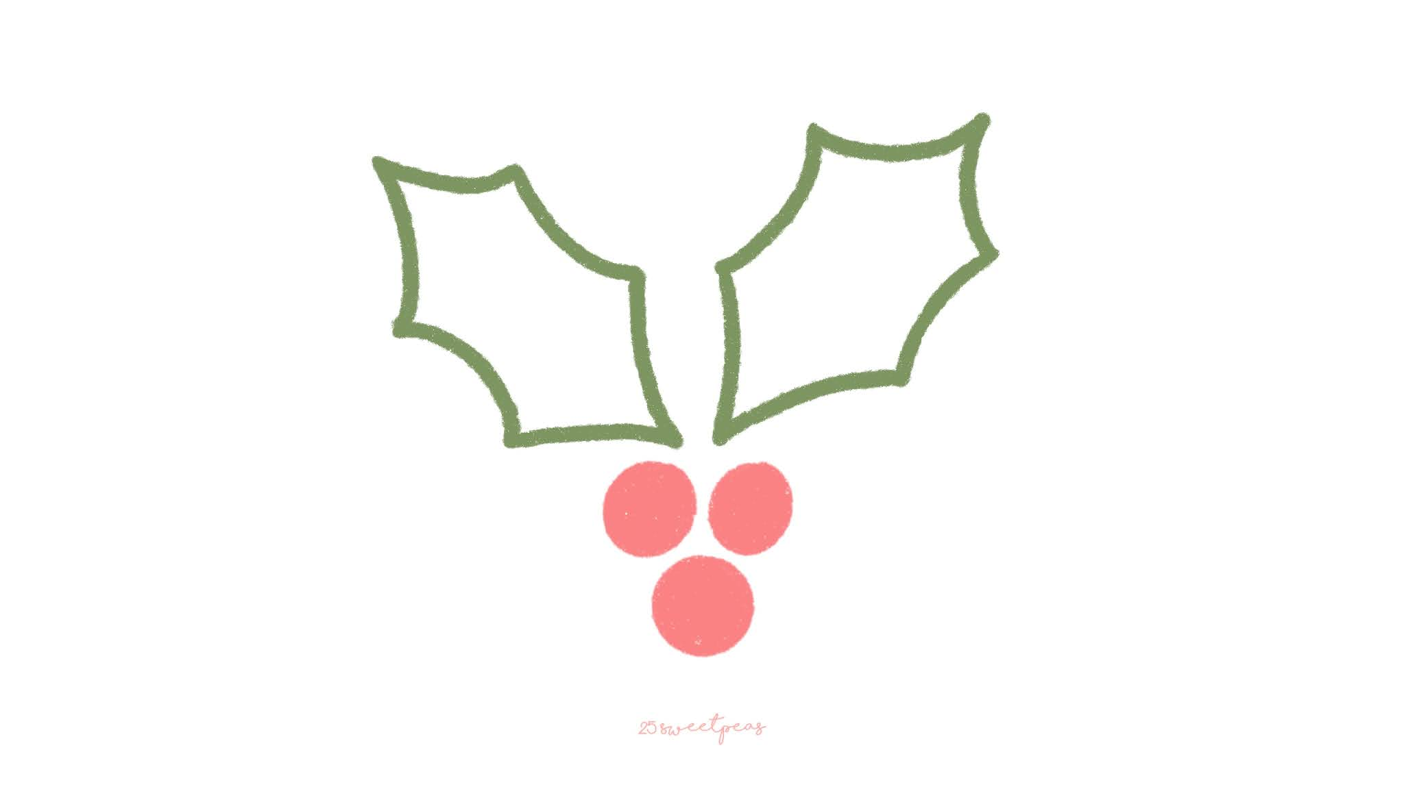 Step by Step : How to Draw or Paint Christmas Holly