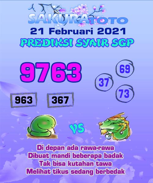 Syair Sakuratoto SGP pada hari Minggu, 21 Februari 2021