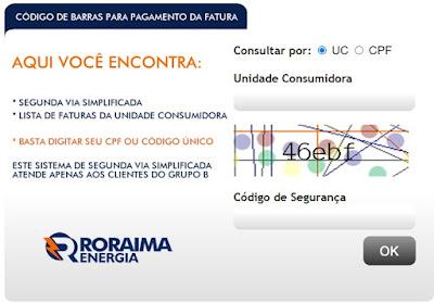 Imagem de Pagina de acesso à Segunda via Roraima Energia