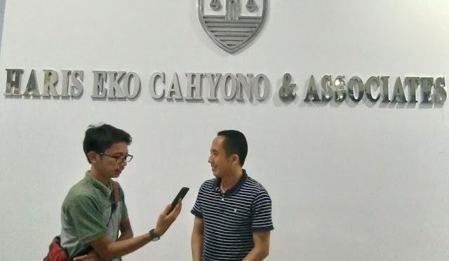 Advokat muda Lumajang, Haris Eko Cahyono SH ketika diwawancarai
