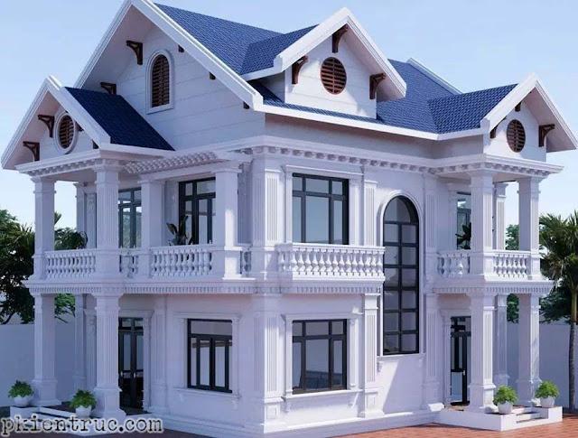 Phối cảnh render mẫu nhà mái thái hai tầng tuyệt đẹp bằng Revit