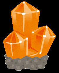 鉱石のイラスト(台座付き・オレンジ)
