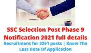 SSC Selection Post Phase 9 Recruitment 2021 for 3261 Vacancies: Registration Started @ssc.nic.in