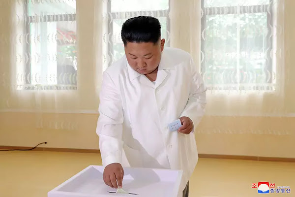 Kim Jong Un at local election, July 2019