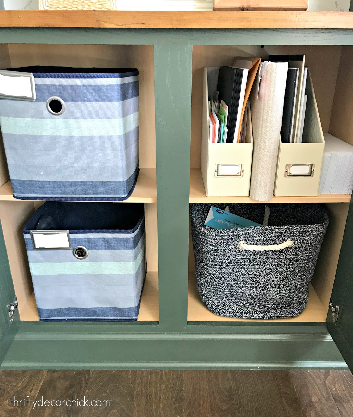 office supply storage in built ins