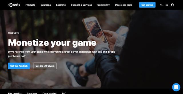 Unity Ads Website Homepage Screnshot