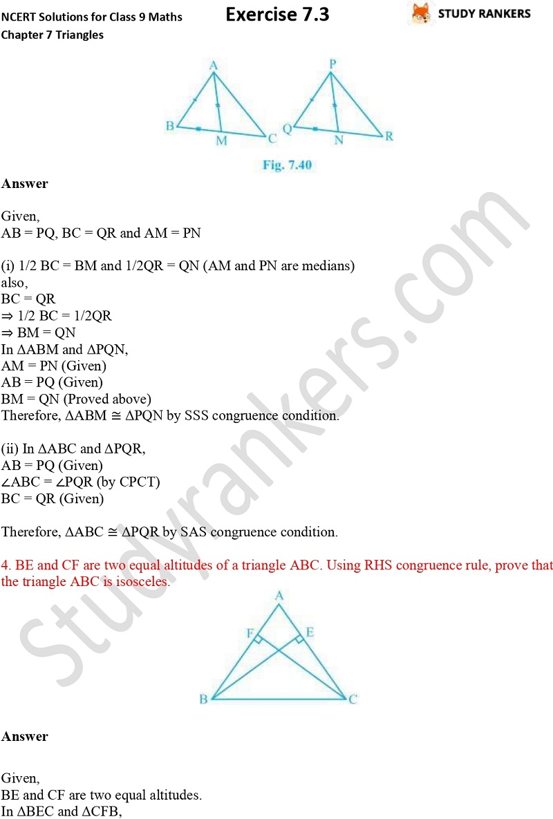 NCERT Solutions for Class 9 Maths Chapter 7 Triangles Exercise 7.3 Part 3