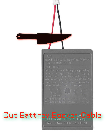 Cut battery socket cable
