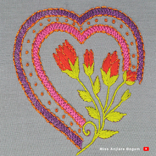 Hand Embroidery heart design new, Embroidery Design by Hand