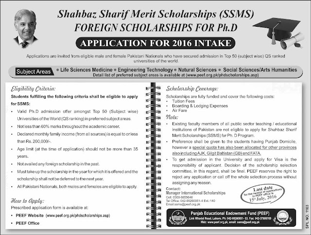 Shahbaz Sharif Foreign Scholarships for PHD on Merit