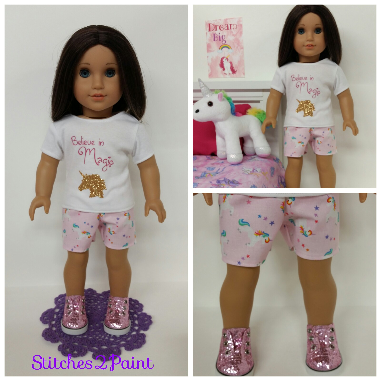 1d0a89ffa1fe Believe in the Magic with gold glitter unicorn. Sparkling pink shoes are  from Hobby Lobby 18 inch doll section. The unicorn was purchased from  Walmart My ...