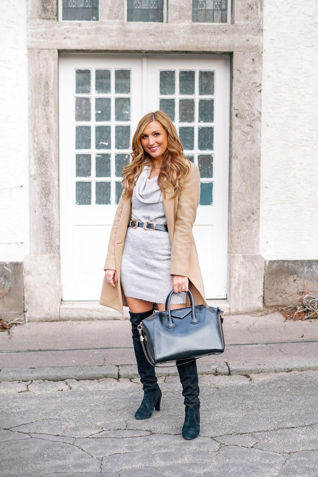 doppelter-gürtel-beiger-Zara-Mantel-wie-trage-ich-ein-graues-strickkleid-und-schwarze-overknees-fashionblogger-fashionstylebyjohanna