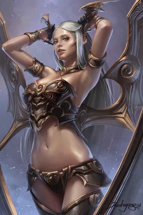 Lee JeeHyung artstation ilustrações fantasia mulheres sensuais