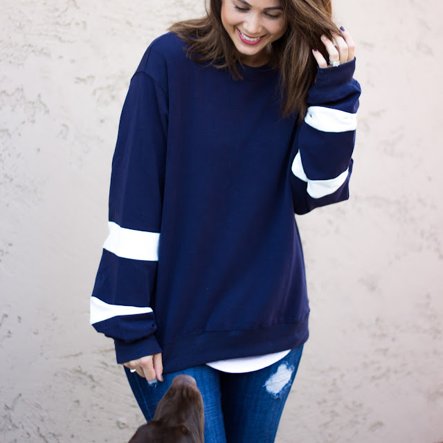 oversized pullover blue sweater