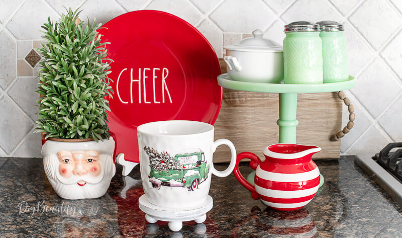 Christmas dishes with DIY riser