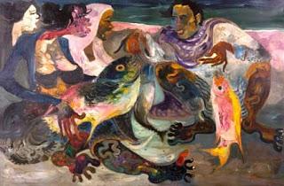 Lukisan Karya Hendra Gunawan berjudul Ikan; Contoh Karya Pada Masa Setelah Kemerdekaan