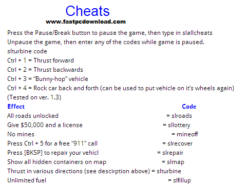 Cheat Codes for King of the Road game