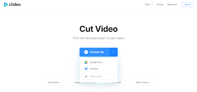 Clideo video cutter tool page