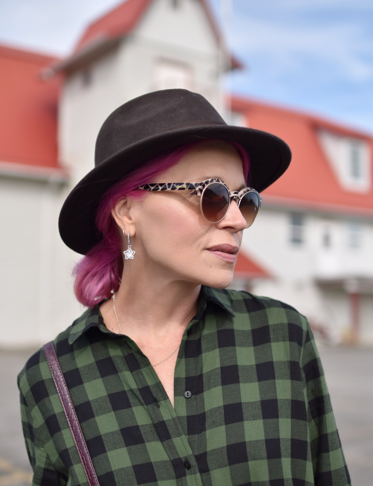 Outfit inspiration - plaid flannel shirtdress, felt fedora, animal-patterned sunglasses, fuchsia hair