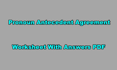 Pronoun Antecedent Agreement Worksheet With Answers PDF