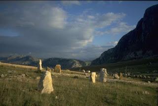 The jagged upright stones that mark the bleak site of the Porta della Ginestra Massacre