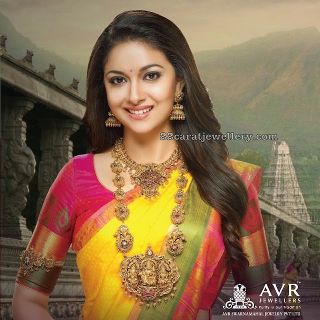 Keerthi Suresh in Temple Jewellery