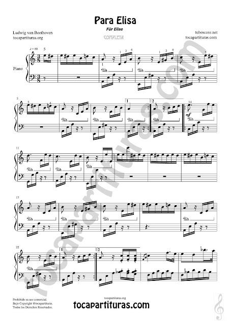 Hoja 1 Partitura completa para Pianistas de Eventos y clases de Piano de Para Elisa de Beethoven en su versión completa Fur Elise Sheet Music for Piano Solo Medium Level  Compra el PDF y MIDI aquí