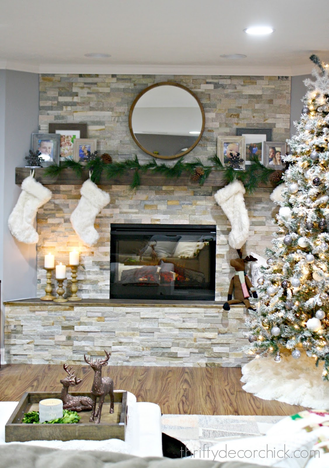 Diy stacked stone fireplace where there was none from for Thrifty decor
