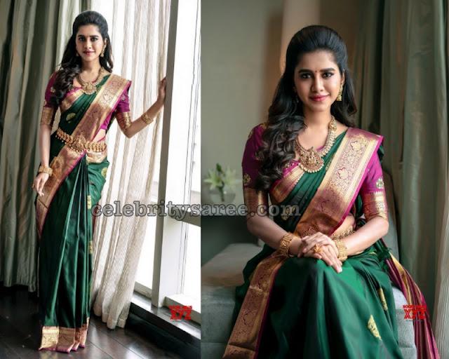 Nabha Natesh in Green Silk Saree