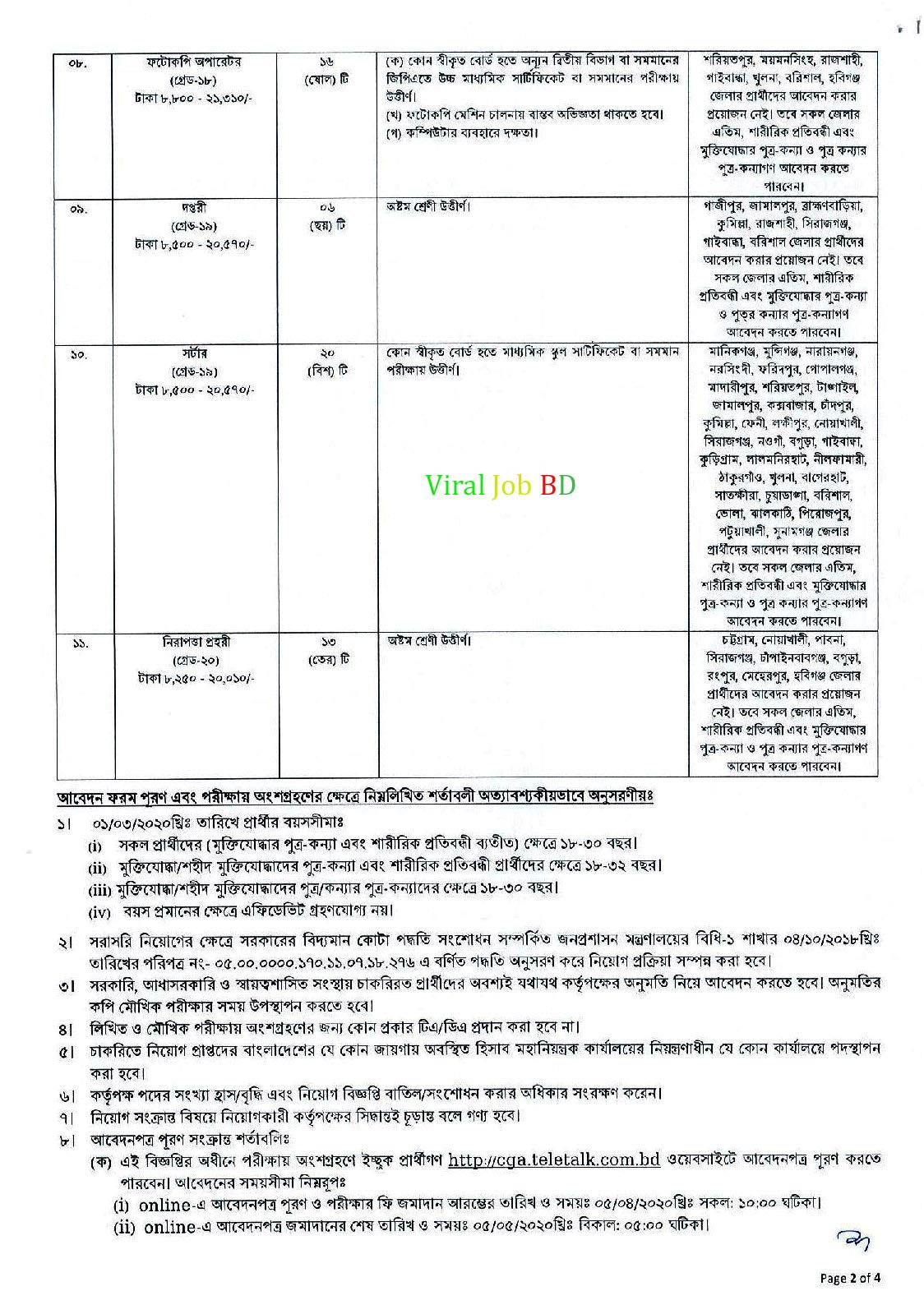 নিয়োগ বিজ্ঞপ্তি, gov job circular