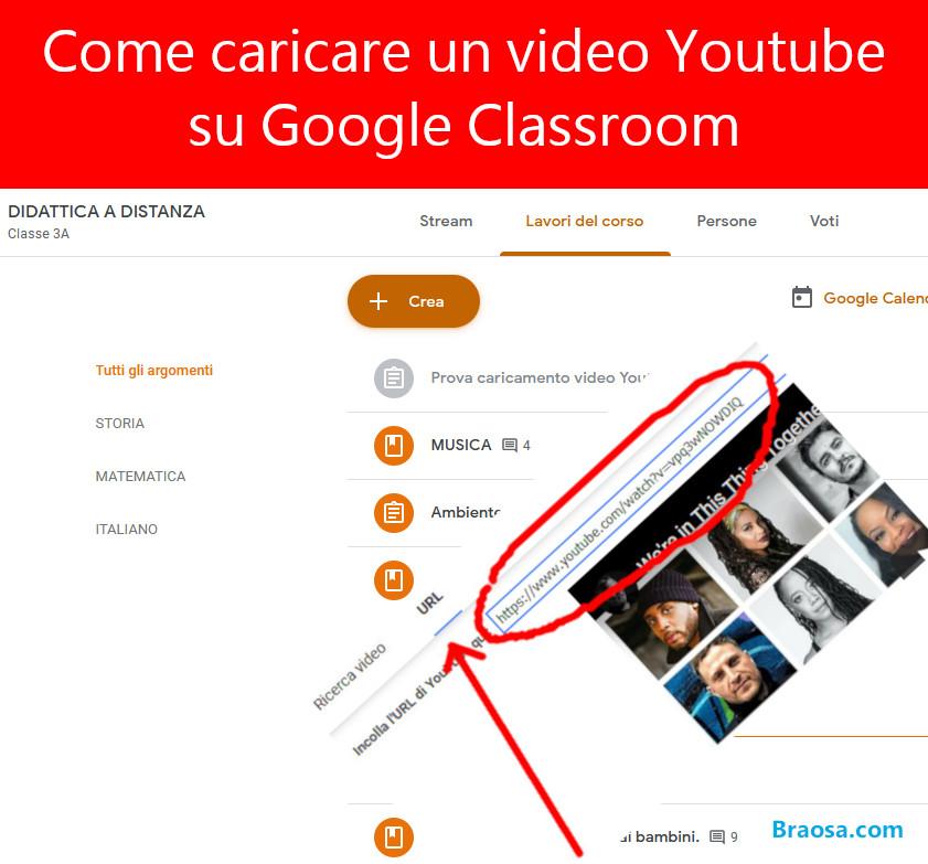 Come caricare un video Youtube su Classroom