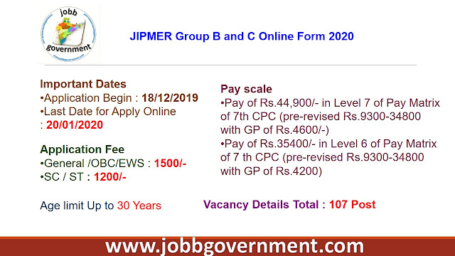 JIPMER Group B and C Online Form 2020
