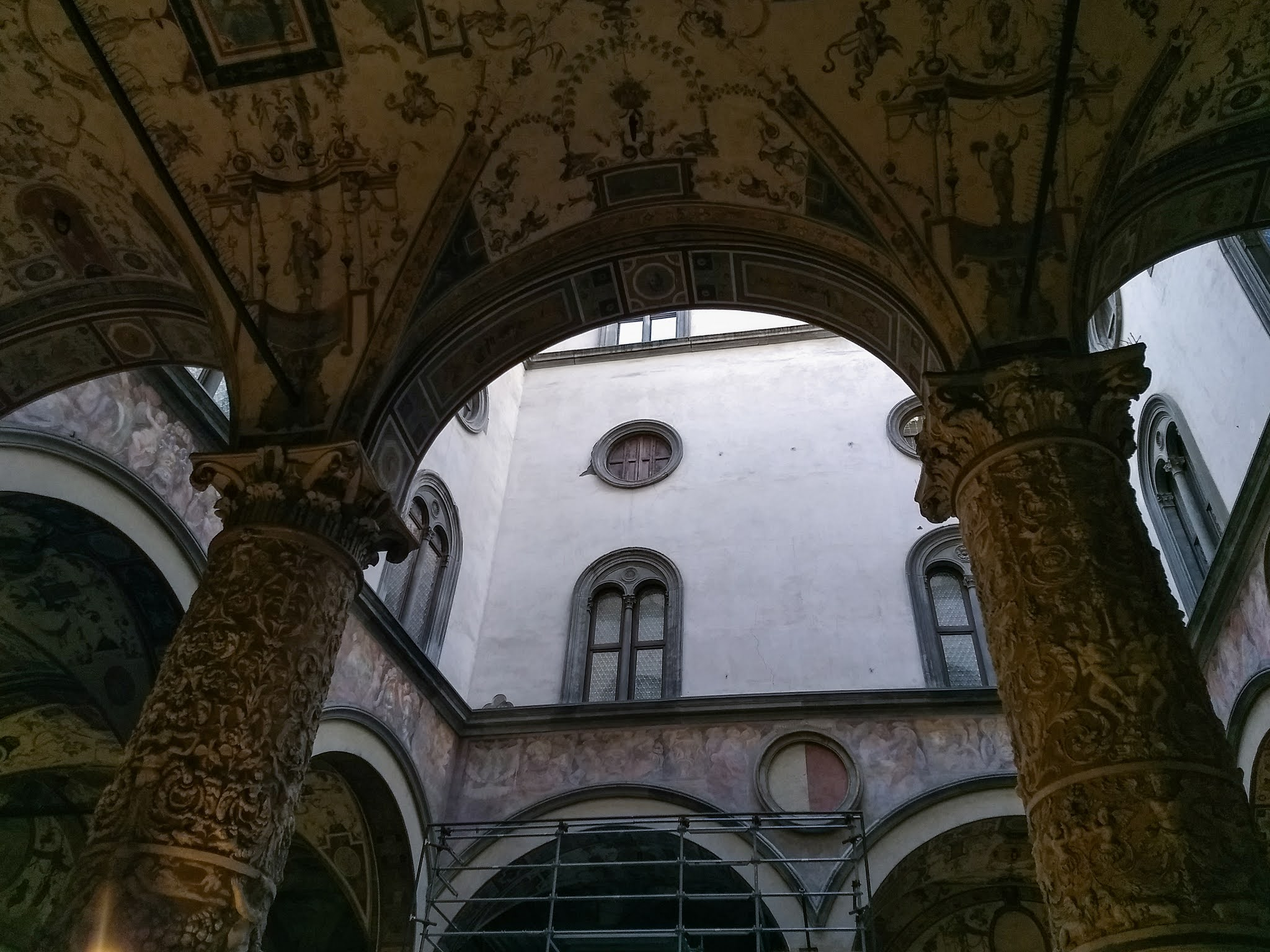 Archways inside the Palazzo Vecchio in Florence.