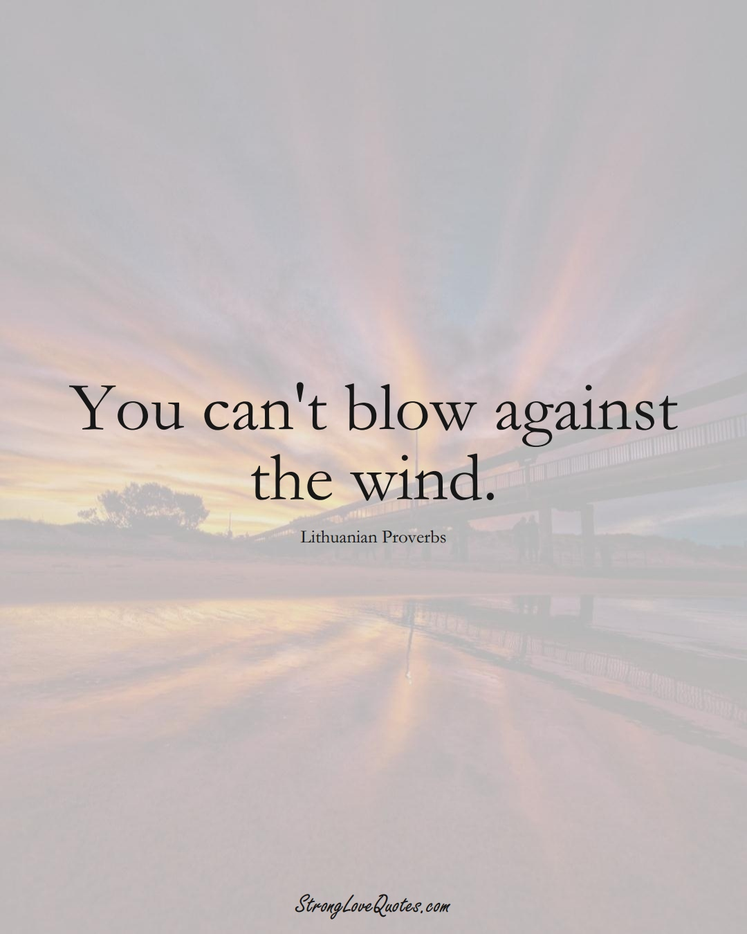 You can't blow against the wind. (Lithuanian Sayings);  #AsianSayings