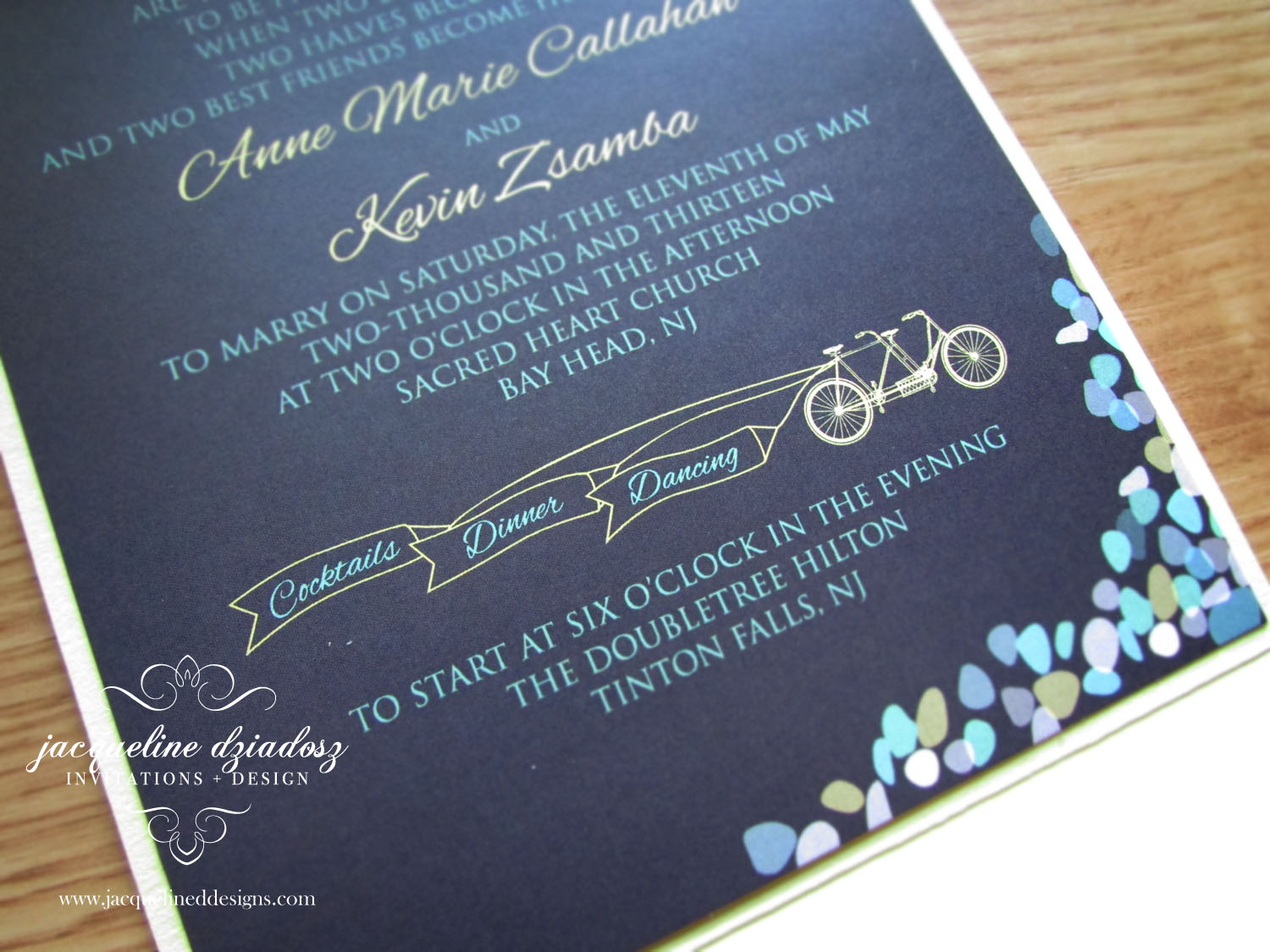 Matching Save The Date And Wedding Invitations: Anne Marie & Kevin's Seaglass And Tandem Bicycle Wedding