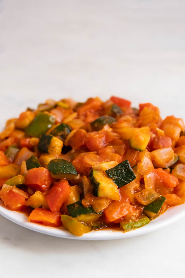 Close up photo of a plate of ratatouille