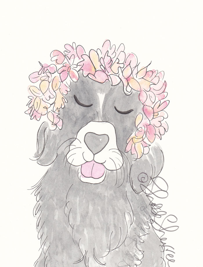 Black and White Pooch with Flower Crown illustration © Shell Sherree all rights reserved