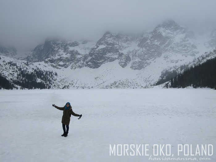 walking on frozen lake morskie oko, poland