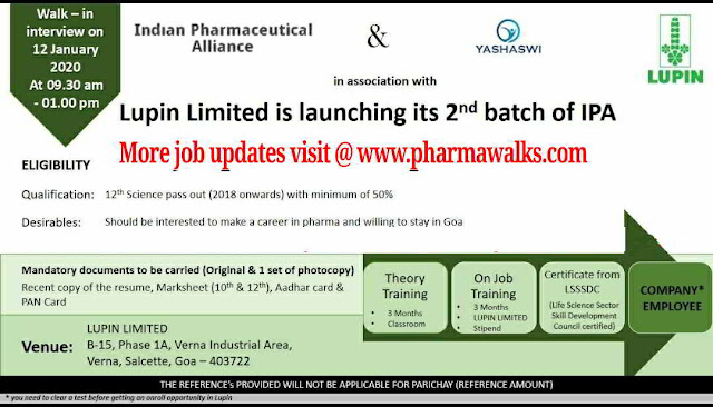 Lupin Ltd walk-in interview for freshers on 12th Jan' 2020